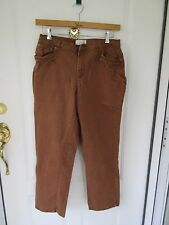 C.J.Banks Brown Stretch Denim Jeans, Size 14 Womens w Embroidered Beading