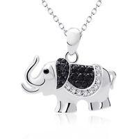 "925 Sterling Silver Elephant Animal Pendant Necklace 18"" Black CZ Charm Jewelry"
