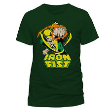 OFFICIAL MARVEL COMICS - IRON FIST FOCUSED CHI GREEN T-SHIRT (NEW)