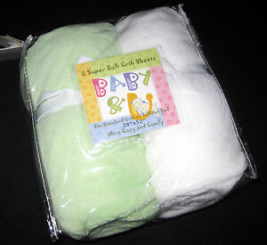 FULL CRIB SIZE- Baby & U Super Soft - Green & White 2  FITTED SHEETS
