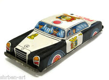 "Vintage  Mercedes-Benz POLICE Friction Toy Metal Car Tinplate 5"" Japan 1960's"