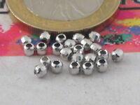 12 palline argento 925 rodiato sfaccettate di 2 mm made in italy