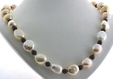 """11X12MM Creamy Freshwater Pearl & Garnet Bead Necklace, Silver Clasp, 18"""" NEW"""