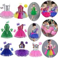 Girls Sequined Dance Dress Kids Modern Jazz Latin Dancewear Costume Tutu Dresses