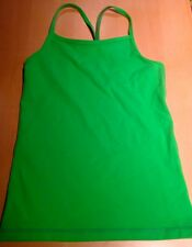Ivivva girls' lime / neon green tank top fuchsia lining size 8