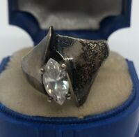 Vintage Sterling Silver Ring 925 Size 9 CZ Modernist DQ signed