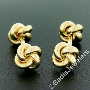 Men's Solid 14k Yellow Gold Polished Finish Love Knot Reversible Cuff Links