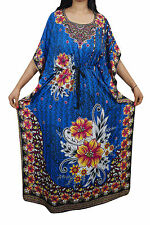 Indiatrendzs Women Kaftans Viscose Printed Blue Kimono Maxi Kaftan Dress 56""