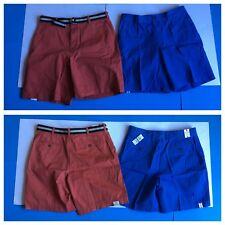 "2 New Pairs IZOD SHORTS Blue Saltwater + Red w/ Belt 36"" Waist NWT PRIORITY MAIL"
