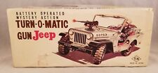 Turn-O-Matic Gun Jeep 1970s Tin Lithograph Toy Truck Battery Operated w/Box vtg