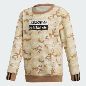 Adidas Big Boys Multi Cardboard Camo R.Y.V. Crew-Neck Fleece Pullover Sweatshirt