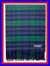 100% Cashmere Scarf Green Blue Check Plaid Scottish Nova Wool Infinity Men Z317