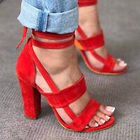 Women's Sandals Sexy Cross Strap High Heel Ladies Summer Pumps Shoes Size 9 USA
