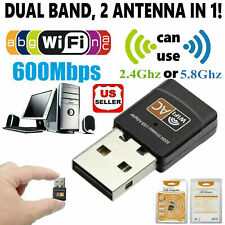 600Mbps Dual Band 2.4GHz 5GHz WiFi Adapter USB Wireless 802.11ac/a/b/g/n Net USA
