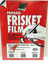 Grafix Extra Tack Frisket Matte Film Sheets 9-Inch-by-12-Inch, Pack of 6 KET9126