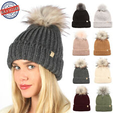 Women's Winter Solid Ribbed Knitted Beanie Hat with Faux Fur Pom Pom