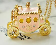 Jewelry Chain New Pendant Alloy Necklace Carriage Charm Pink Enamel Girl h