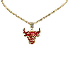 "14K Gold Plated Iced Out Lab Diamond Chicago Red Bull Pendant 24"" Rope Chain"