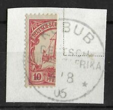 GERMAN SOUTH WEST AFRICA 1906 Used Bisect on Paper 10 Pf Michel #13