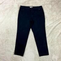 Talbots Womens Pants Black Ankle Zip Front Pockets Size 12 Large Cropped