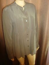 Calvin Klein 100% Silk Button Down Pleated Green Blouse Long Sleeve Size 8 NWOT