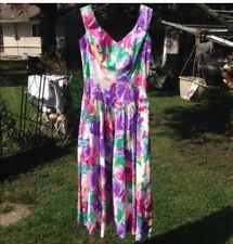 VTG NEW 80'S KAMISATO WOMENS VINTAGE BRIGHT FLORAL DRESS SZ 10 GEARY ROARK USA