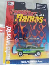 New Flames  green 1958 Plymouth Fury HO slot car Thunderjet R29 AW whitewalls