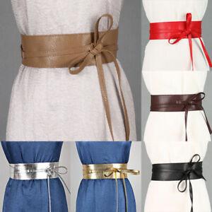 Women Waist Wide Dress Belt Tie Corset Cinch Ladies Soft PU Leather Wrap Around