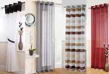 PLAIN EYELET TOP RING TOP VOILE NET CURTAIN PANEL STRIPED/ SPARKLE/ LINEN LOOK