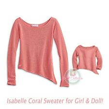 American Girl CL LE ISABELLE DUO CORAL SWEATER Size XS 6 for Girl & Doll NEW