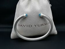 David Yurman 5mm Cable Classics Bracelet with Blue Topaz and Diamonds size L