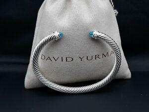 David Yurman 5mm Cable Classics Bracelet with Blue Topaz and Diamonds size Large