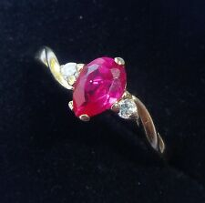 9ct Gold Pear Ruby Solitaire Ring, Size K