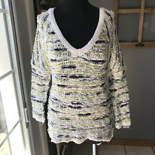 Free People White Yellow Gray Cotton Nubby Mesh V Neck 3/4 Sleeve Sweater S