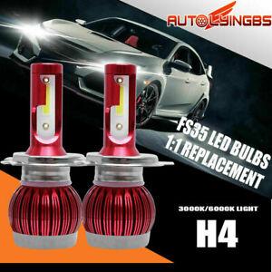 2PC H4 9003 LED Headlight Bulb 3000K Low + 6000K High Beam Dual Light 6400LM 60W