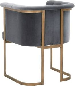 Essentials For Living Bella Velvet Brass Gold Side Dining Accent Chair Blush