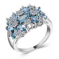Women 925 Silver Jewelry Aquamarine & White Sapphire Wedding Ring Size 6-10
