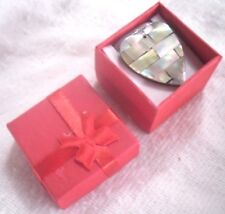 """Vintage Mother-of-Pearl Hart Pendant Silver 19"""" Snake Chain Necklace,Gift Boxed"""