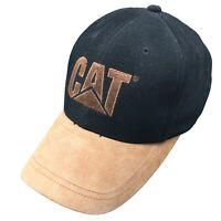 Cat Caterpillar Mens Hat Adjustable Strap Back Cap Leather Bill Black Tan