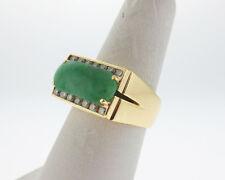 Fine Estate Green Jadeite Jade Diamonds Solid 18k Yellow Gold Heavy Men's Ring