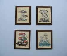 Vintage Set 4 Thayer Mushroom Prints wall art drawing signed wood plaque 70s mcm