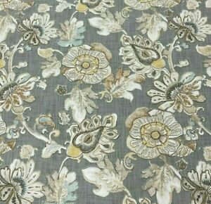 "Almada in Granite BTY Richloom 100% Cotton Slub Duck 54"" Wide Gray Jacobean"