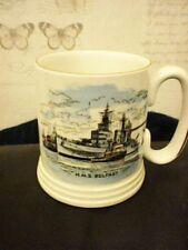 HMS Belfast LORD NELSON POTTERY Mug hauteur 9 cm Diamètre 7.5 cm doré bordée