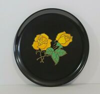 """Vintage COUROC by Monterey CA Tray Platter Inlay Yellow ROSES Black Round 10.5"""""""