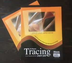 """2 Packs 9"""" x 12"""" Quality Tracing Paper Pad Sketches Book Preliminary 30 Sheets"""