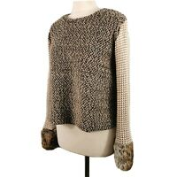 Zara Size S 10 12 Brown Chunky Knit Short Jumper Fur Cuffs Winter Womens