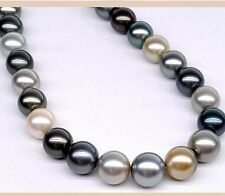 "18""12-13mm Natural Tahitian genuine white gold black gray round pearl necklace"