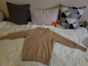 Vintage Ballantyne Men's Wool Cashmere Blend V Neck Beige Sweater S pls read