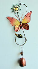 """New listing Home Garden Pool Yard *Pink Butterfly Iron / Glass Antiqued Bell Chime* 22"""" New"""