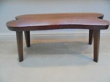 Vintage mid century coffee table, long irregular shape, naturalistic teak bench